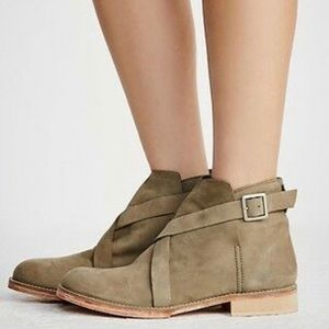 Free People Las Palmas Green Leather Ankle Boots